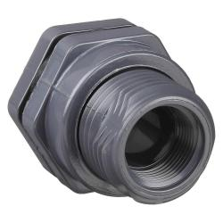 Hayward 2in PVC Bulkhead Fitting with Threaded x Threaded End Connections and EPDM Standard Flange Gasket BFA1020TES