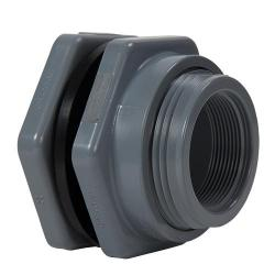 Hayward 4in PVC Bulkhead Fitting with Threaded x Threaded End Connections and EPDM Gasket BFAS1040TES
