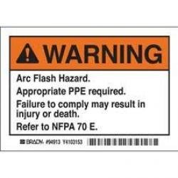Brady 94913 Warning Arc Flash 5/Pack