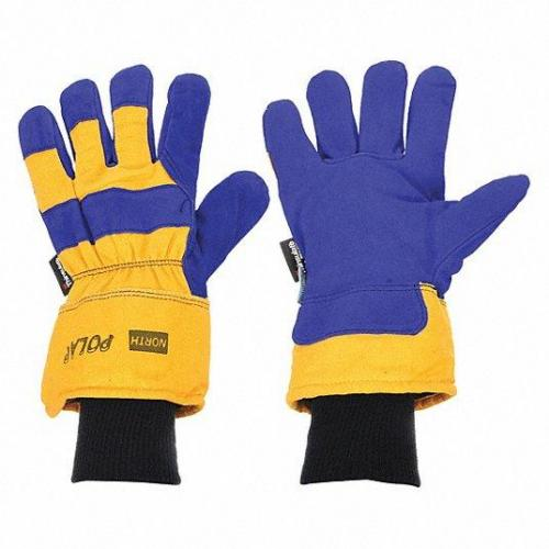 North Polar Insulated Leather Palm Gloves  Split Cowhide  Blue/Yellow Large 6/Bag 068-70/6465NK *